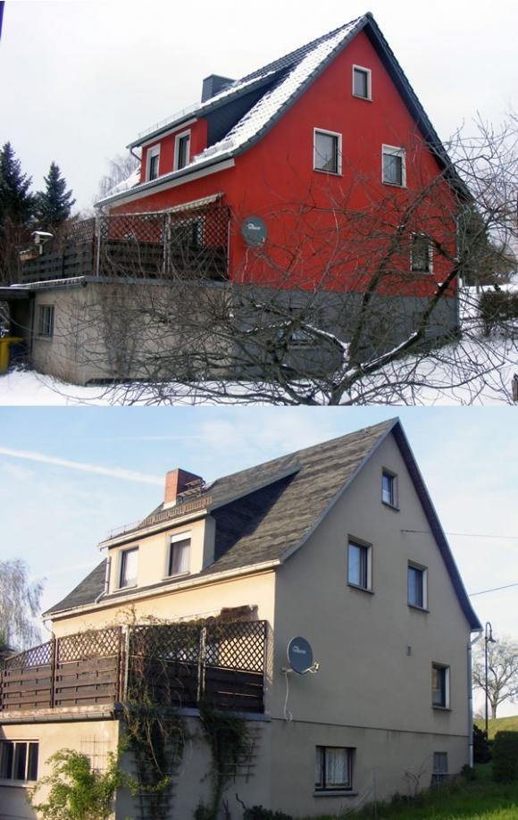 Einfamilienhaus im Haselbachtal - Renovierung der Fassade<br />oben: nachher<br />unten: vorher