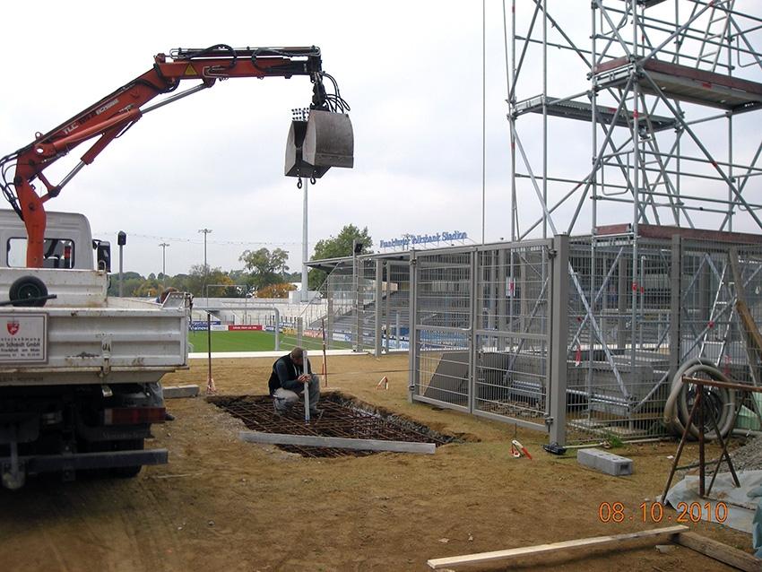 Fundamentarbeiten im Frankfurter Volksbank Stadion des FSV-Frankfurt
